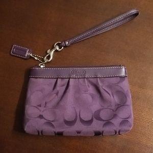 Coach signature purple wristlet